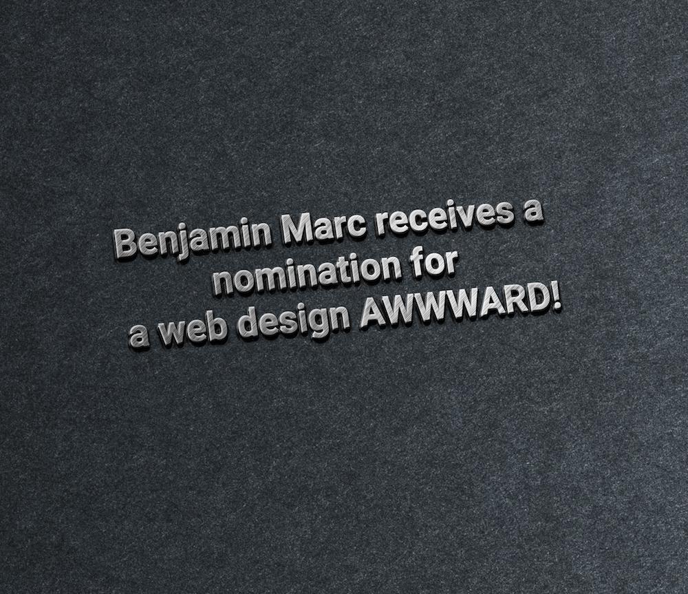 Benjamin Marc receives a nomination for a web design AWWWARD